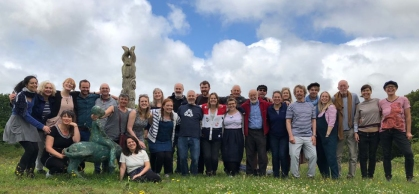 The London Sea Shanty Collective pose for a group photo in Ballydehob