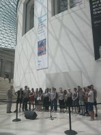 The London Sea Shanty Choir sing at the British Museum
