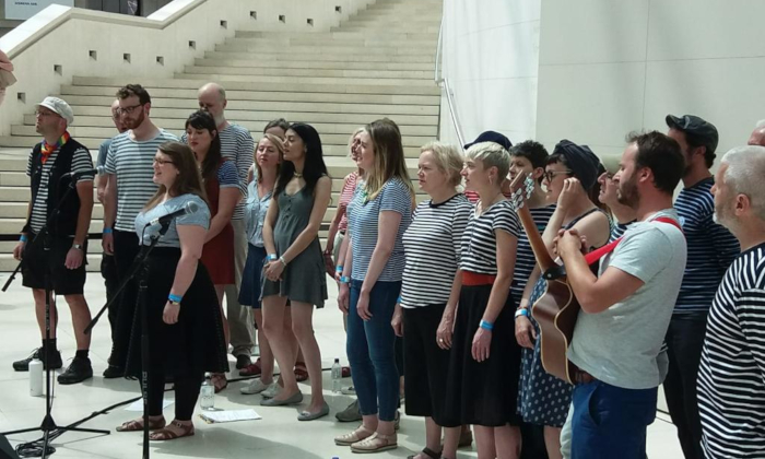 The London Sea Shanty Collective sing at the British Museum