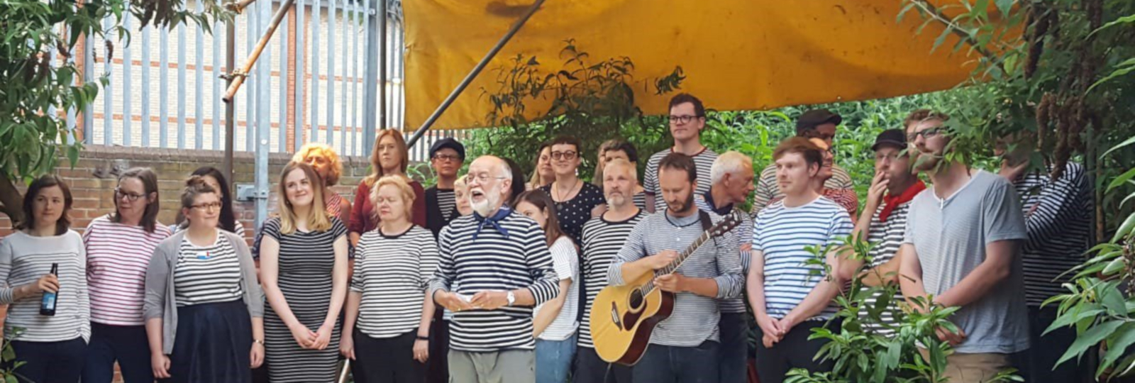 The London Sea Shanty Collective perform at the Curve Garden, Dalston