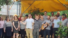 The London Sea Shanty Collective sing at the Curve Garden, Dalston