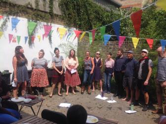 The London Sea Shanty Collective perform in Haggerston