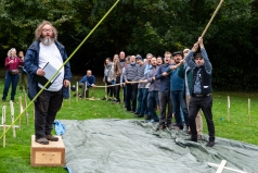 The London Sea Shanty Collective haul a rope at the Measuring of the Mayflower event
