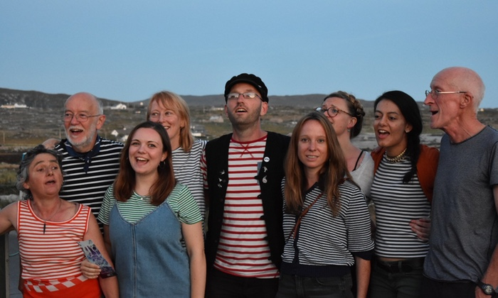 The London Sea Shanty Collective pose for a photo in Claddaghduff