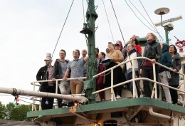 The London Sea Shanty Collective rehearsing on a ship in Greenland Dock, Rotherhithe