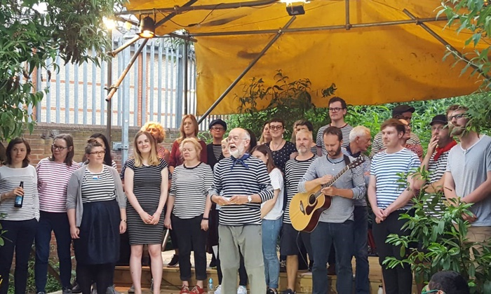 The London Sea Shanty Collective perform at the Curve Garden